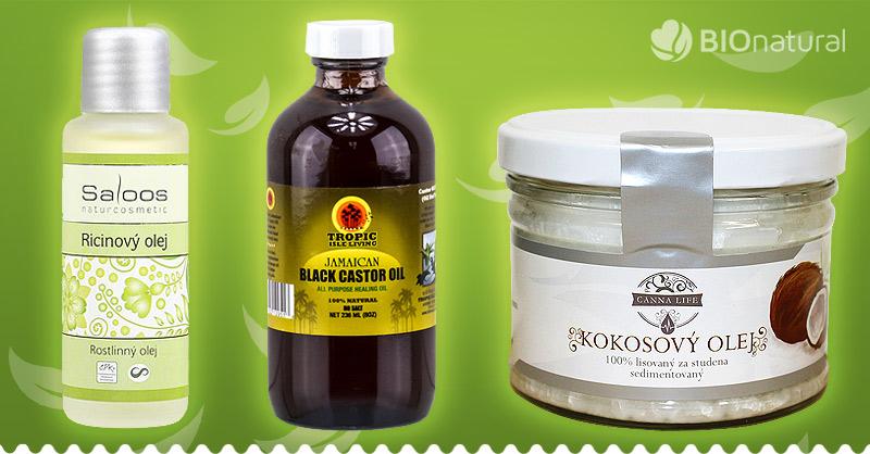 Kokosový a ricínový olej na rast mihalníc