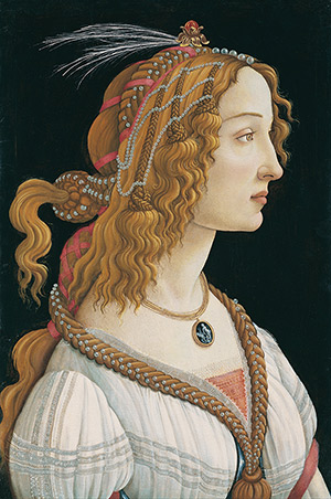 Sandro Botticelli - portrét mladej ženy 1480