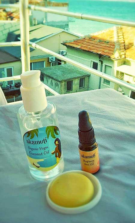 Kokosový a malinový olej Akamuti