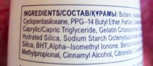 Zloženie antiperspirantu