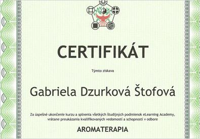 Certifikát aromaterapie - Gabriela Dzurková Štofová