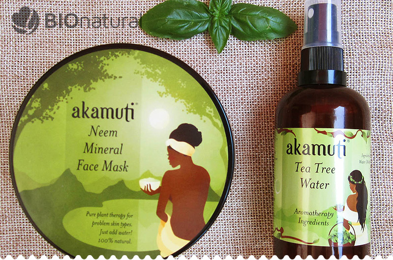 Nimbová (neem) maska a tea tree kvetinová voda od Akamuti