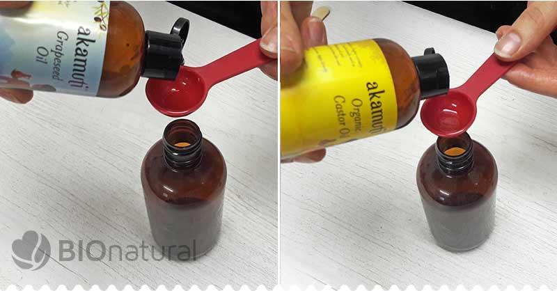 Pridáme hroznový a ricínový olej