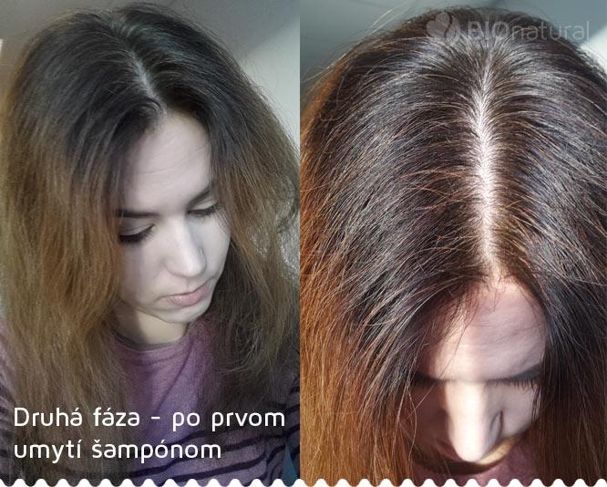 Druhá fáza, gaštanová henna, po prvom umytí šampónom