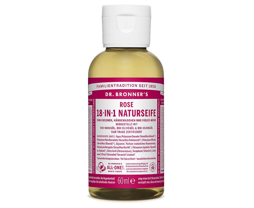 Dr. Bronner's Tekuté kastílske mydlo Ruža 60 ml