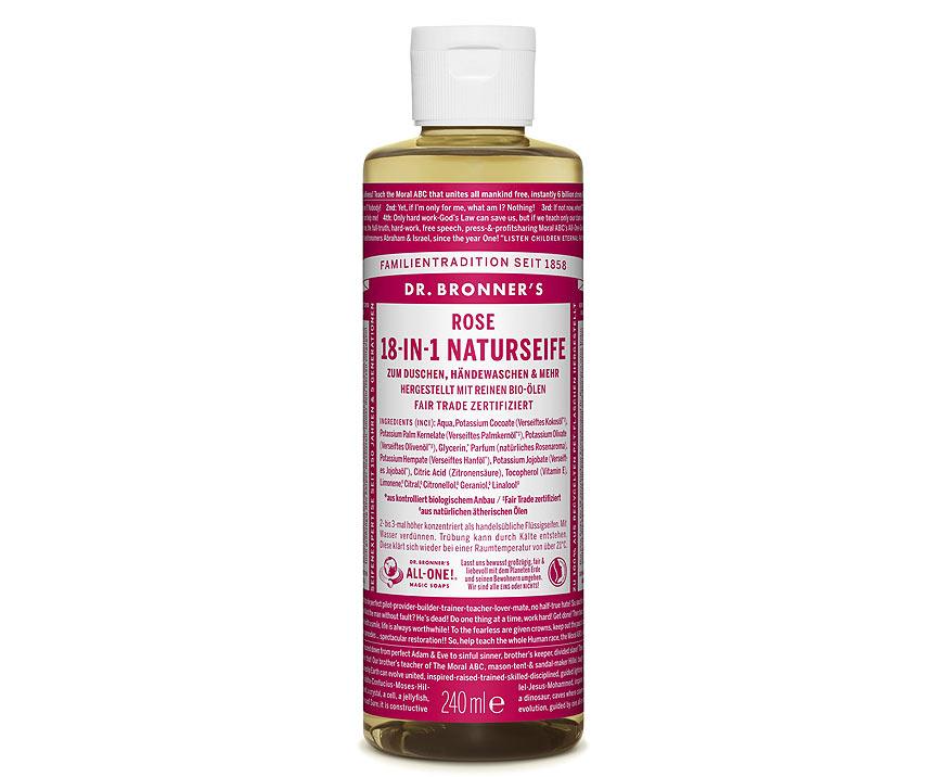 Dr. Bronner's Tekuté kastílske mydlo Ruža 240 ml
